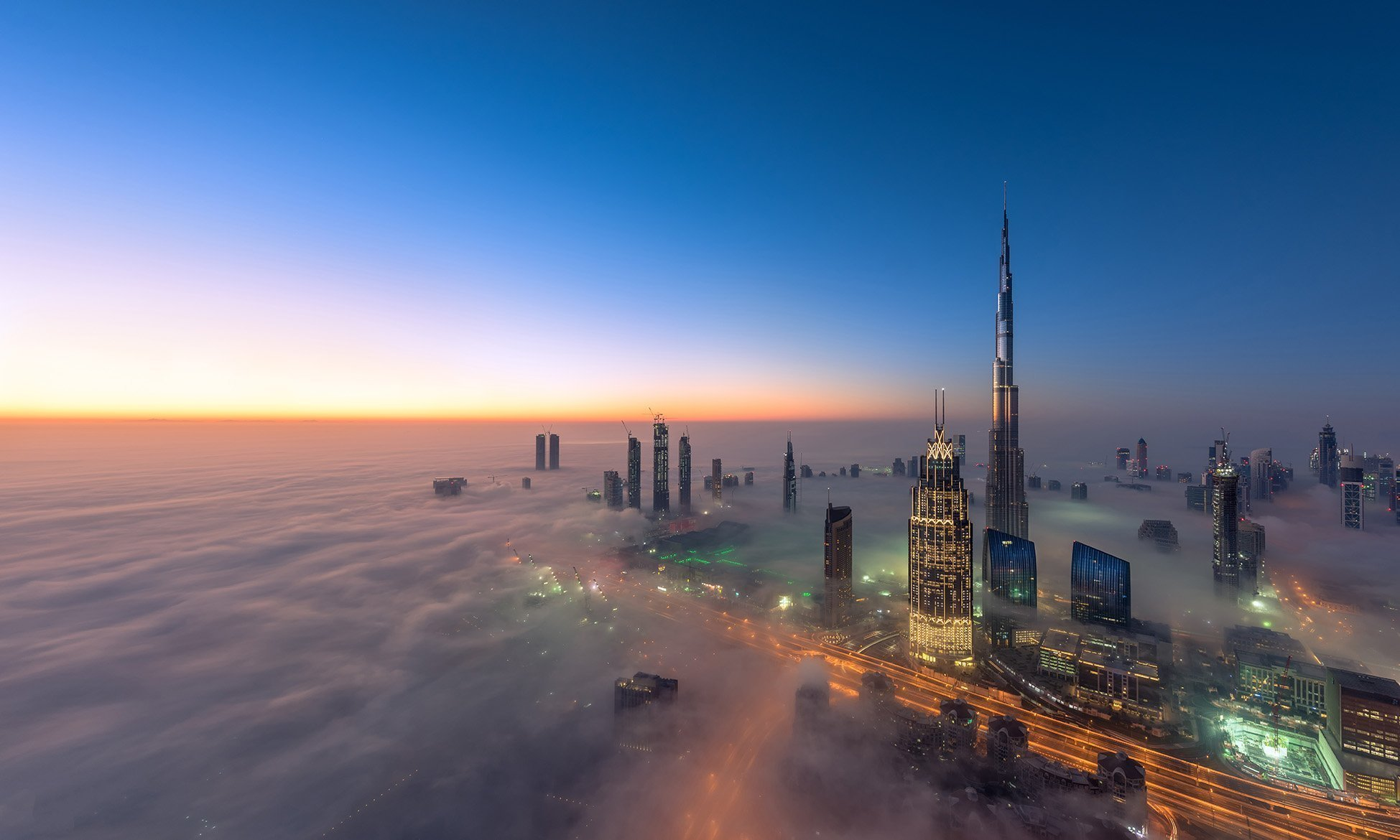 Aerial shot of Dubai