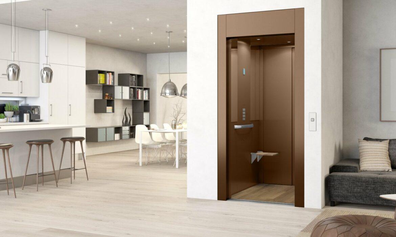 Domestic cabin lift in loft apartment