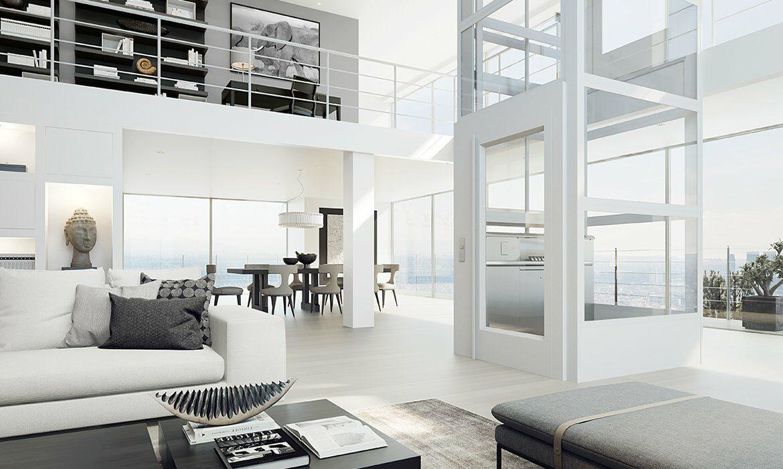 Sleek home lift in modern apartment