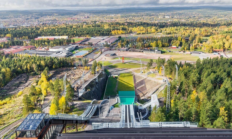 Aerial view of ski jump