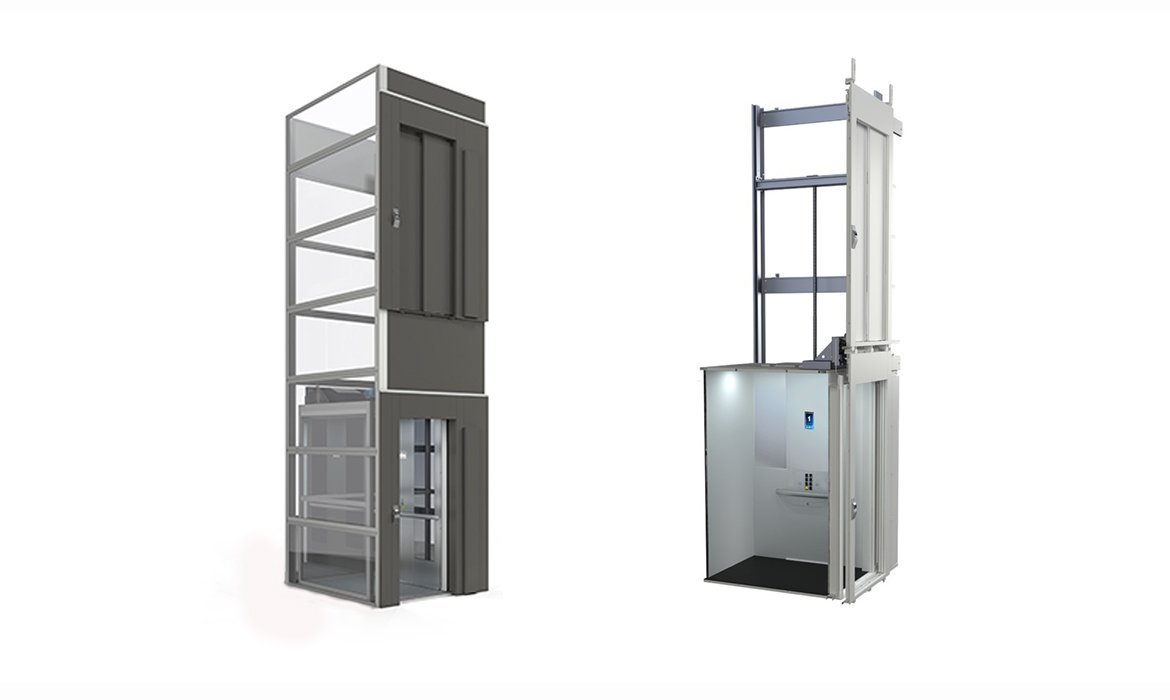 Cibes cabin lifts can be delivered with or without a prefabricated lift shaft.