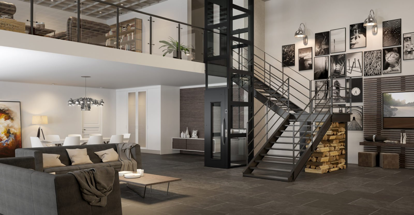Loft apartment residential lift