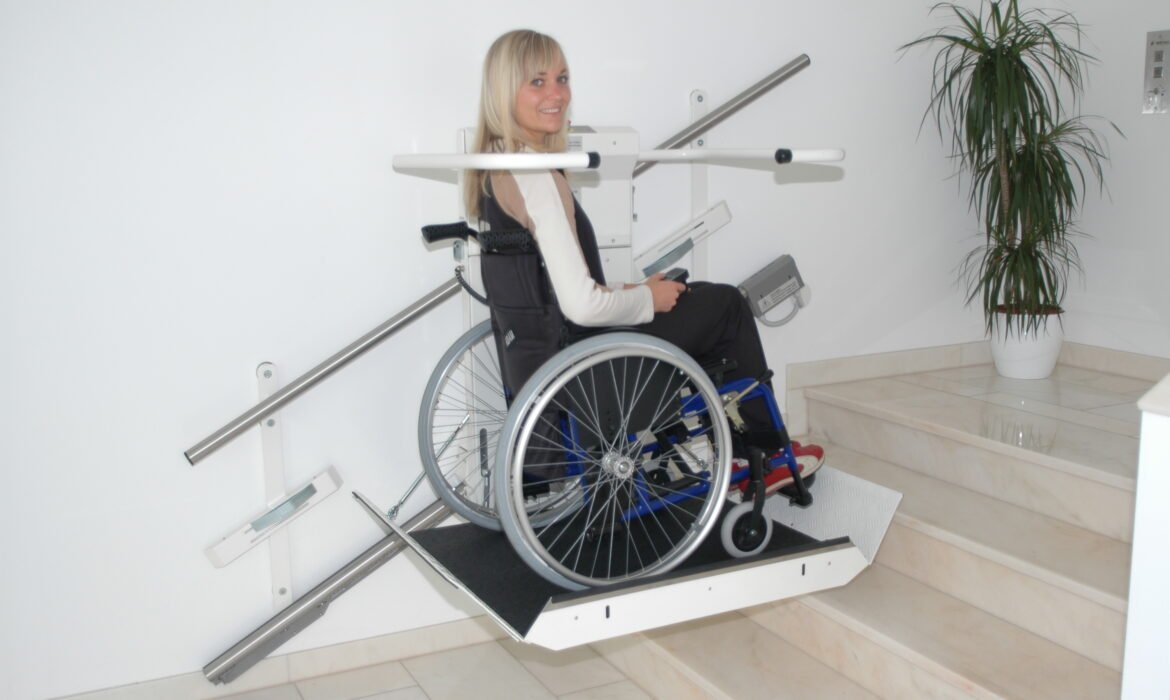 Girl on wheelchair lift