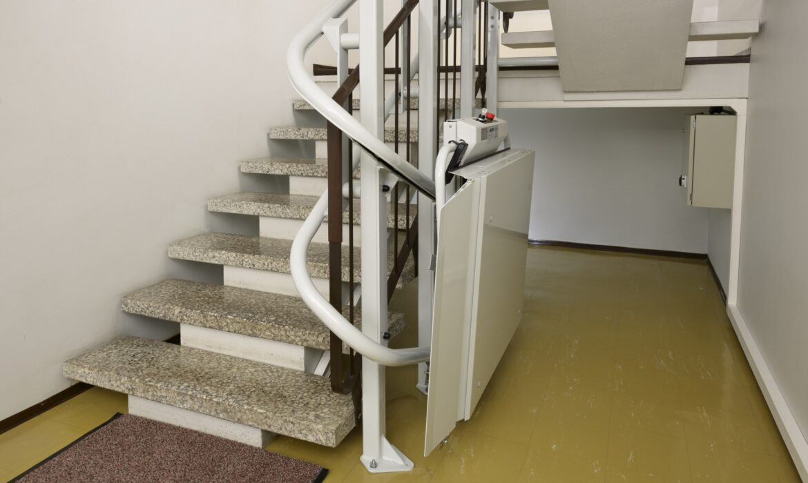 Wheelchair accessible lift attached to stairs