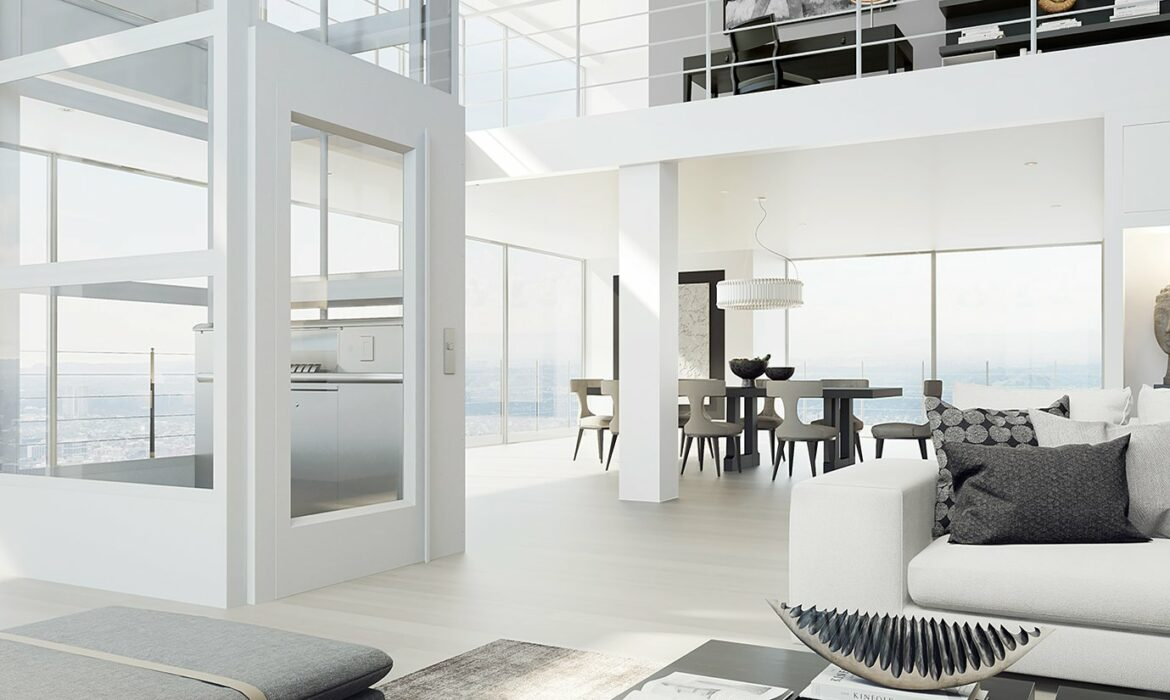 Interior design in pure white with glazed lift