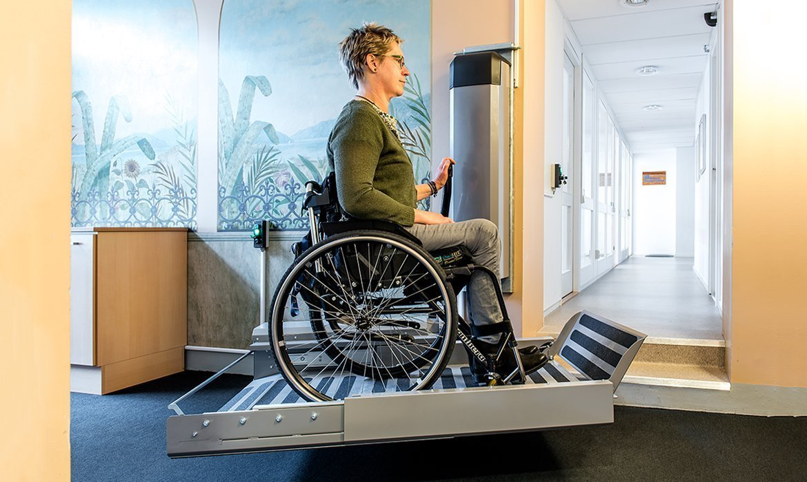 Wheelchair Lift Cibes Swingon In Office Building