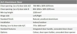 Lift door AL5 specification