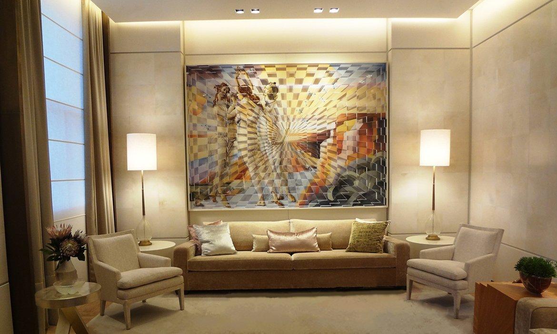 Luxury living room in beige natural stone