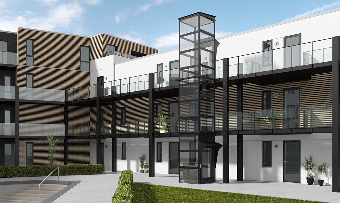 Black outdoor lift for luxury apartments