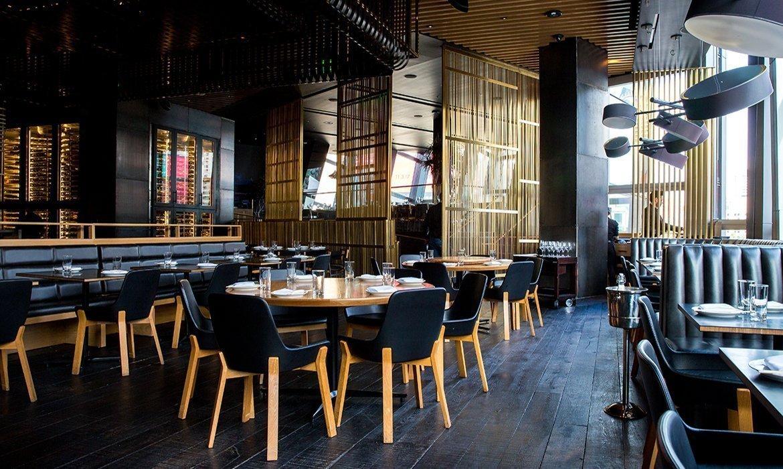Dramatic restaurant interior in black