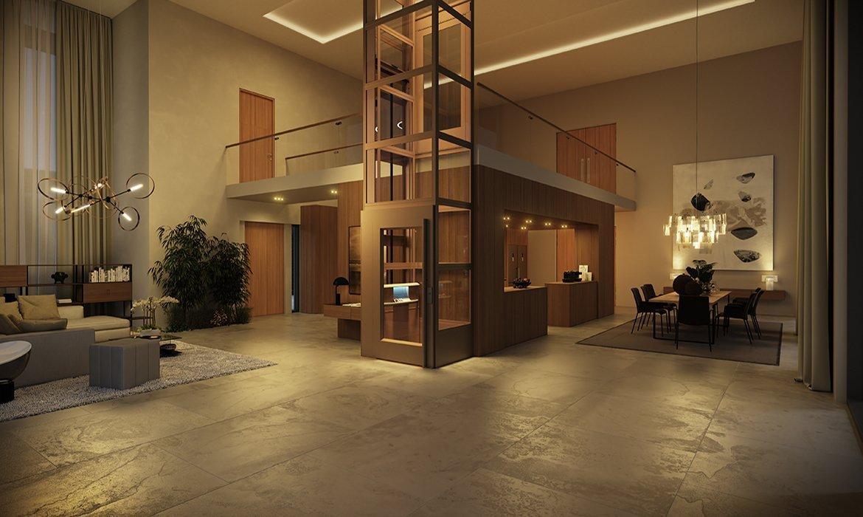 Elegant home lift in open-plan living room
