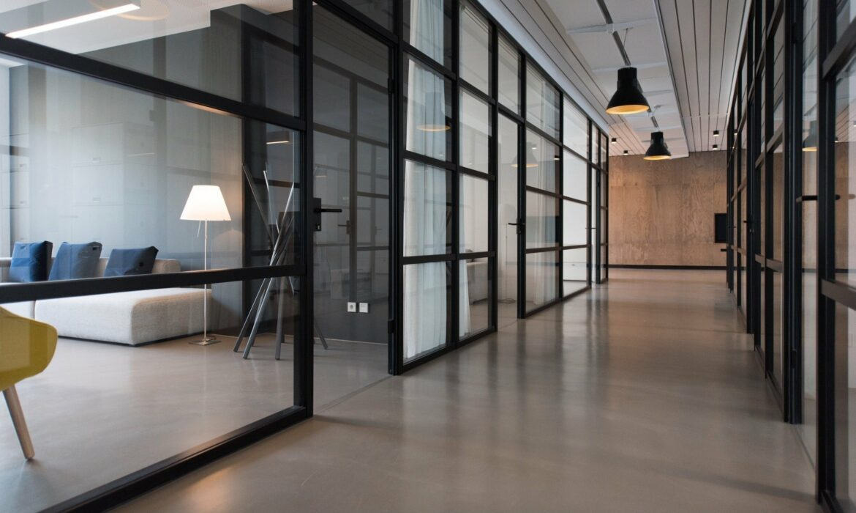 Black steel framed glass walls