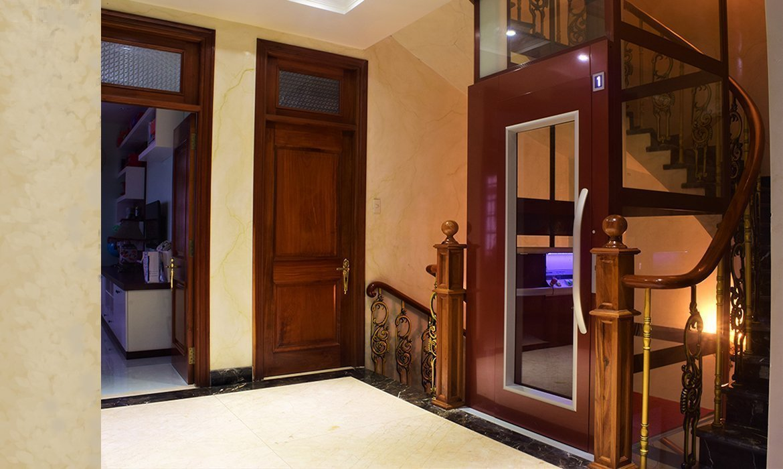 dark wood interior platform lift