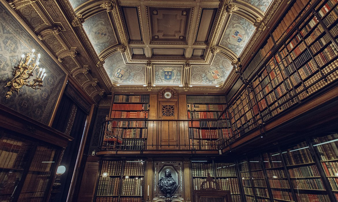 Wood panelled library with gold accents