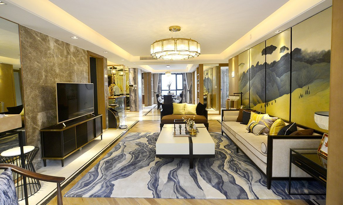 Interior design with details in bright gold