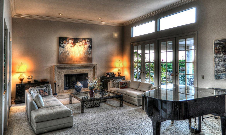 Elegant, formal sitting room in light beige.