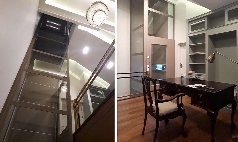 Elegant home lift in nougat colour