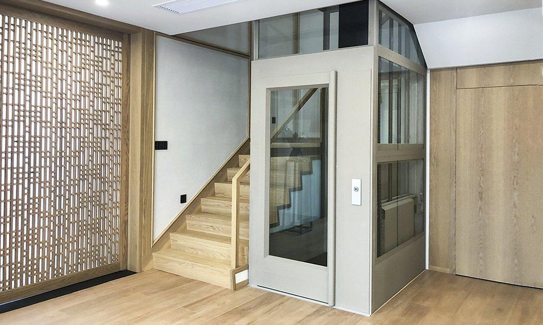 Home lift in elegant light beige