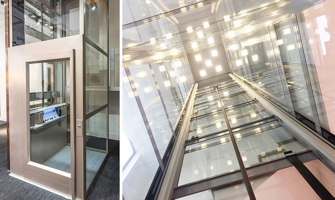 Platform lift with panoramic glass shaft