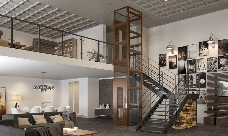 Domestic lift in loft apartment