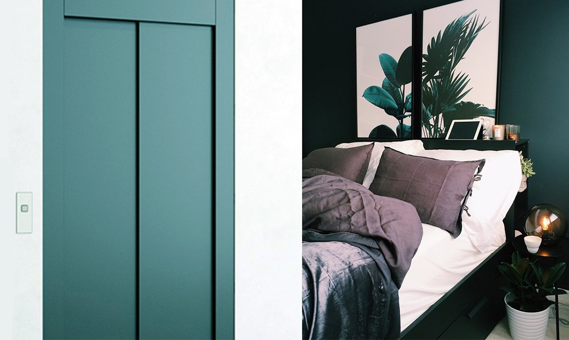 Blue green private lift in stylish bedroom