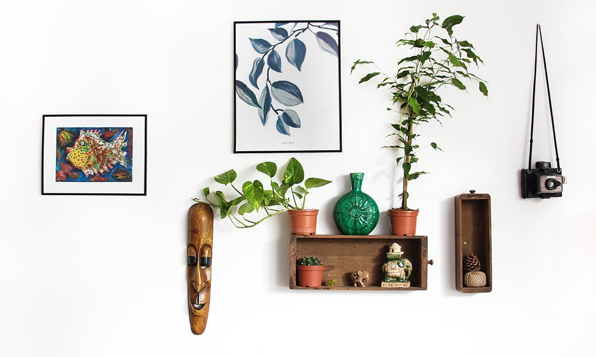 Bohemian style wall with shelving