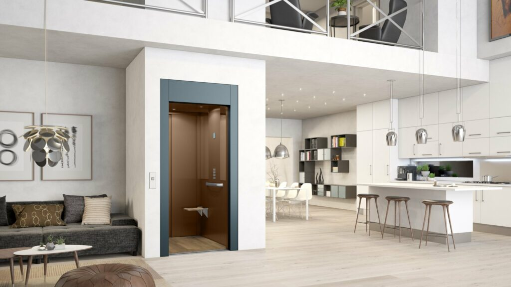 Blue private lift in living room