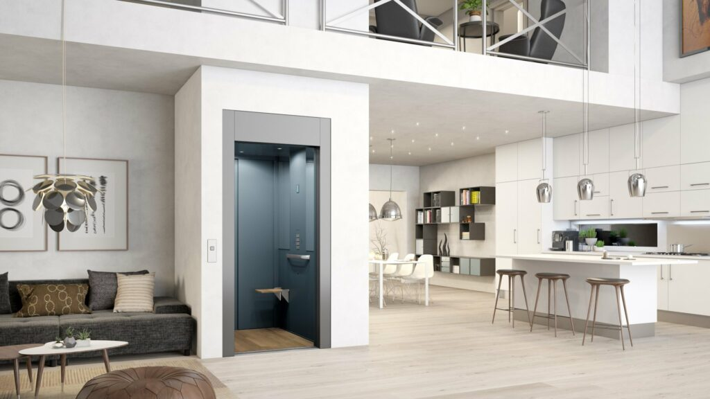 Grey and blue residential lift