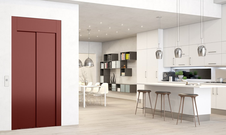 Oriental rusty red domestic lift in modern kitchen