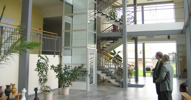 Platform lift in office block