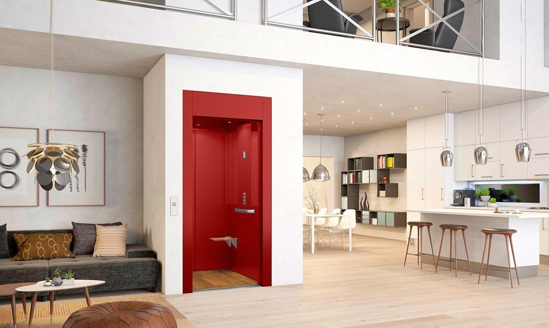 Oriental deep red cabin lift