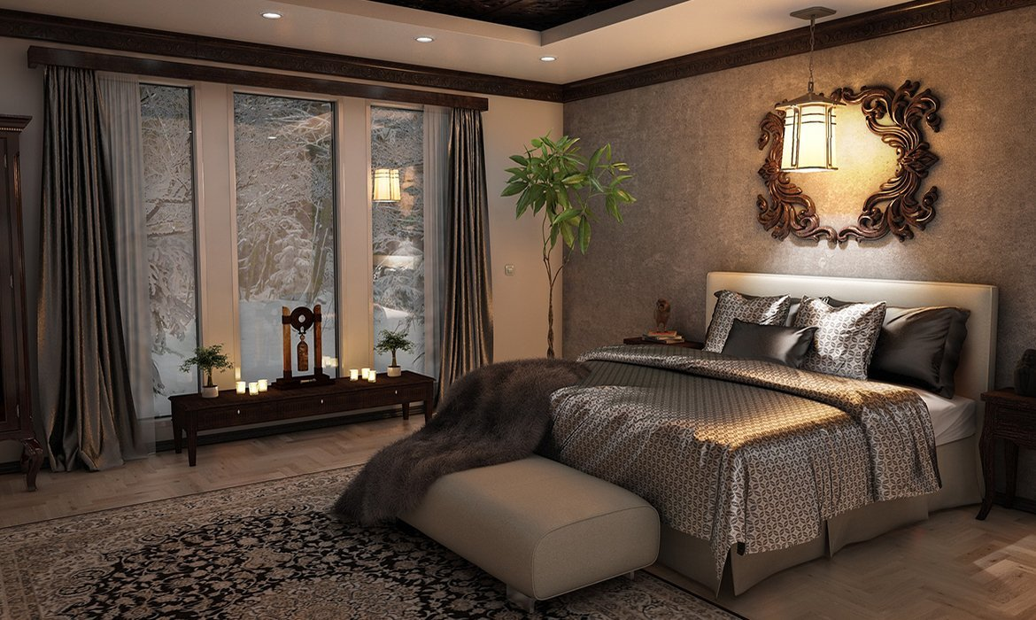 Luxurious traditional bedroom