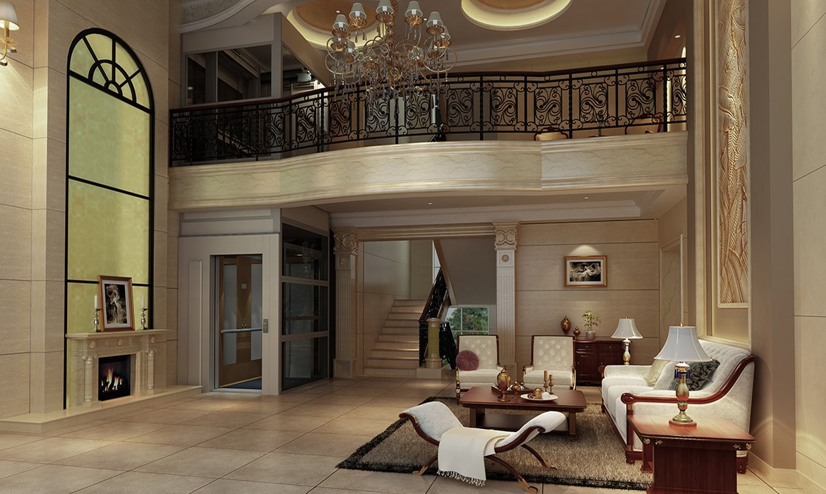Cabin lift in opulent traditional interior