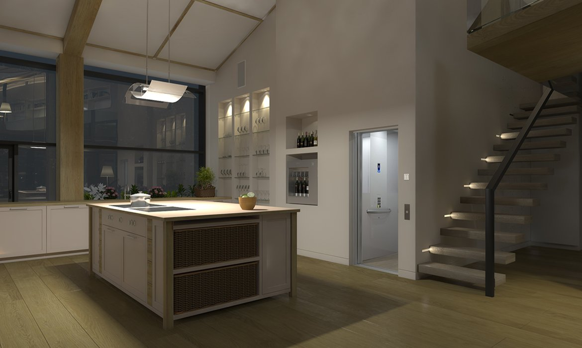 Residential cabin lift in white kitchen