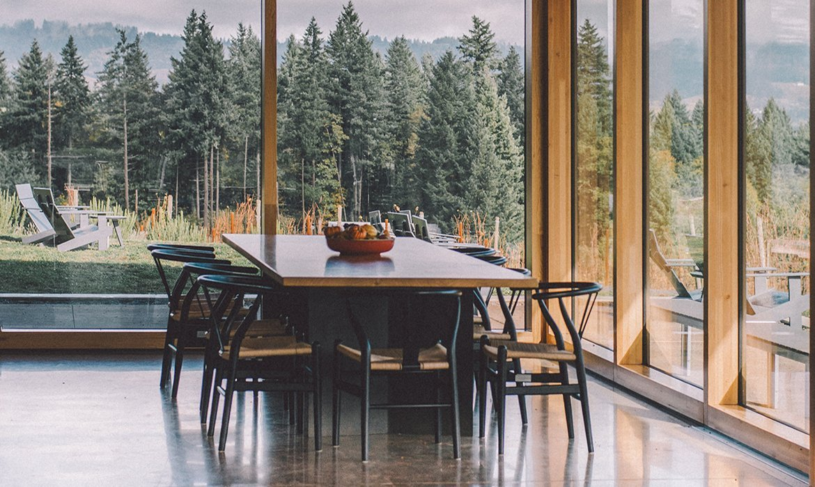 Beautiful dining room with views on Scandinavian forest