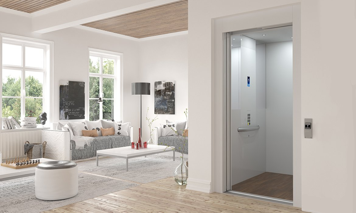 Scandinavian style living room with lift