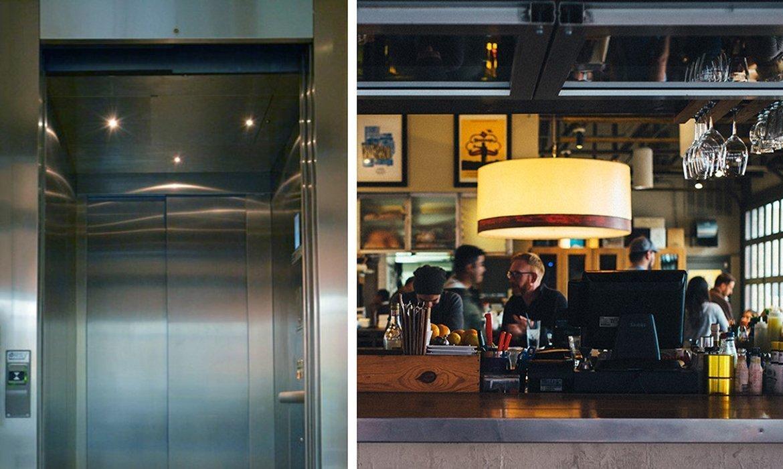 Industrial chic lift in restaurant