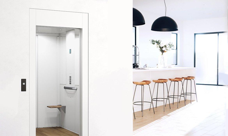 White home lift in elegant, Scandinavian style kitchen