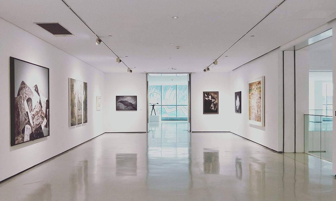 Art gallery with natural, polished concrete floors