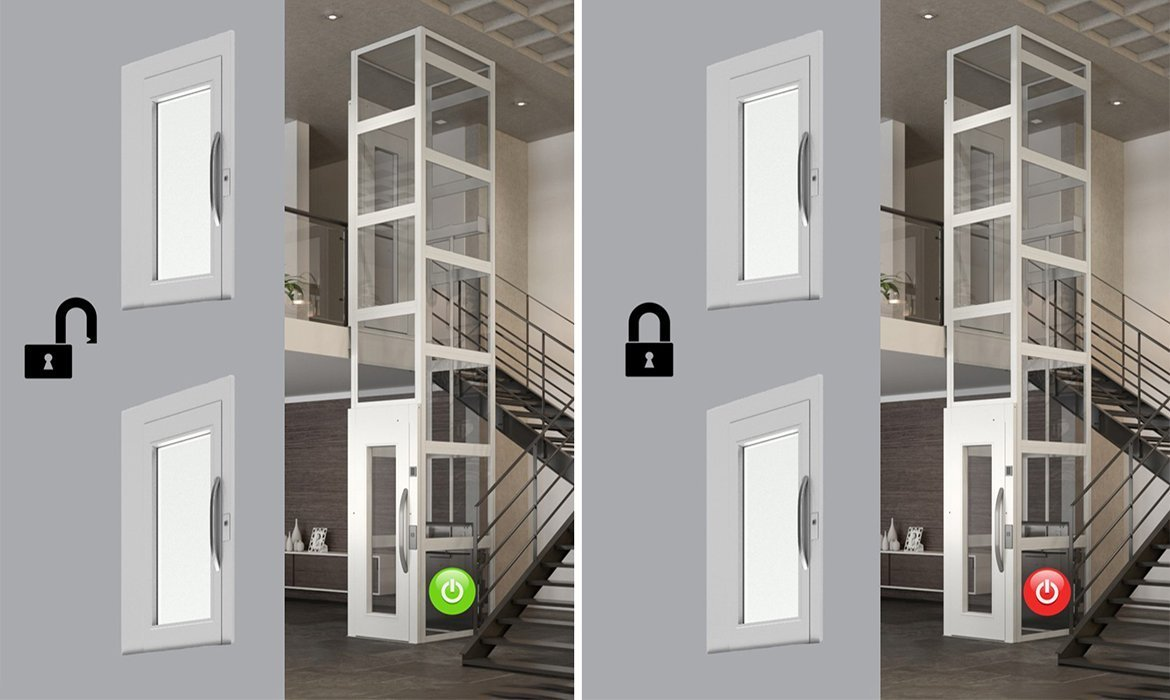 Central lock for cabin lifts and platform lifts