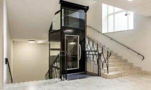 Platform lift in stairwell