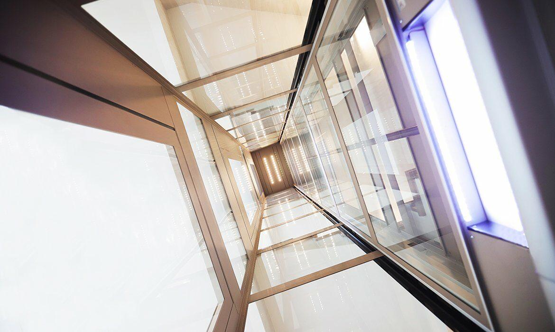 Fully glazed lift shaft