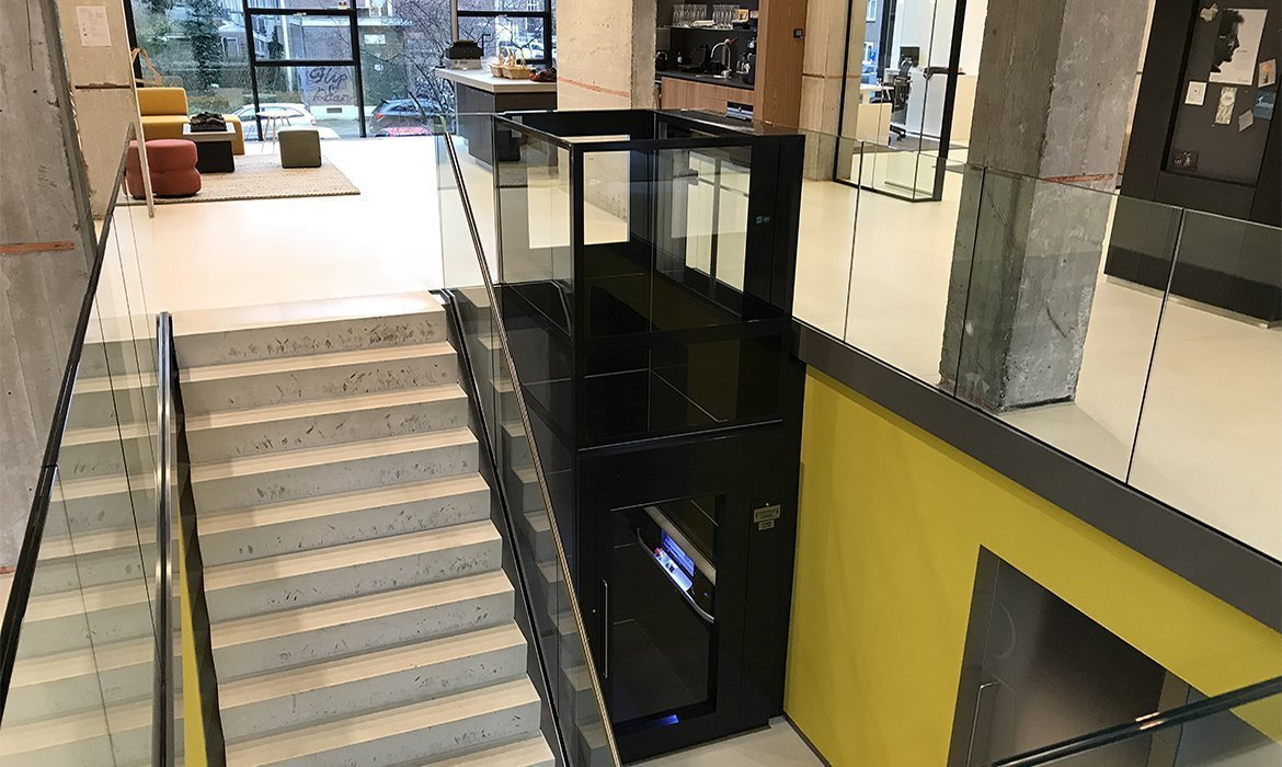 platform lift in office staircase
