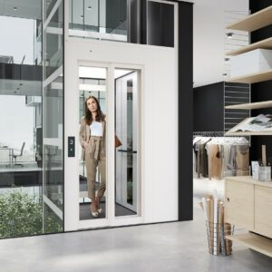 Office lift with telescopic doors