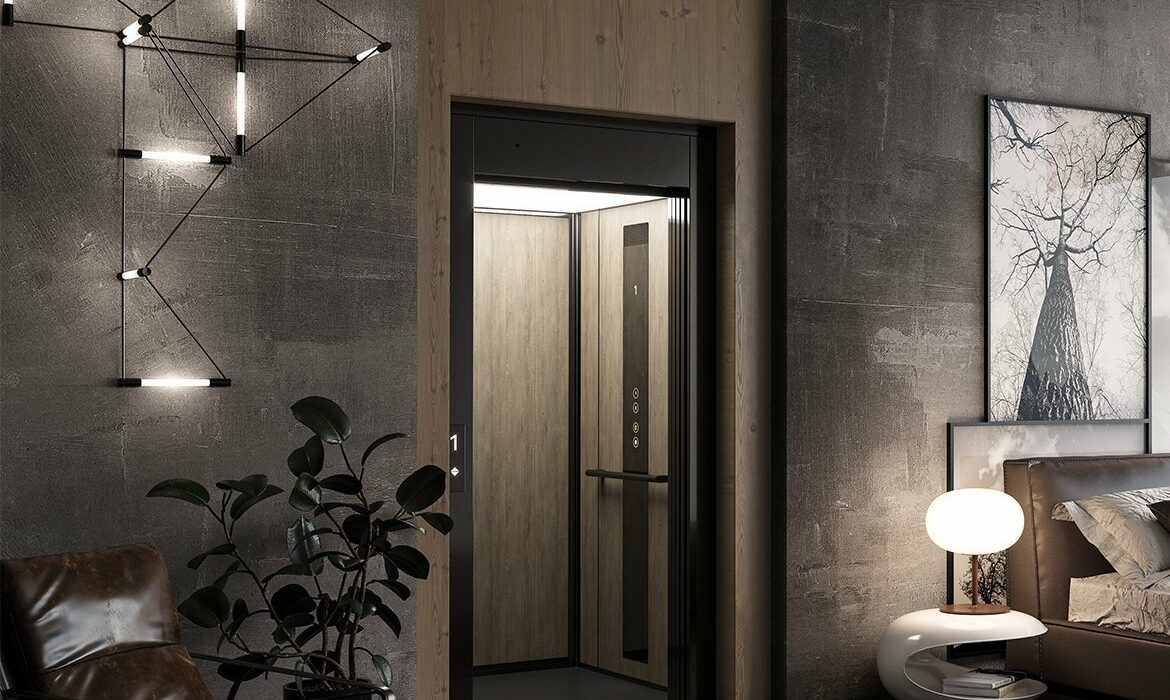 Domestic lift with space-efficient design