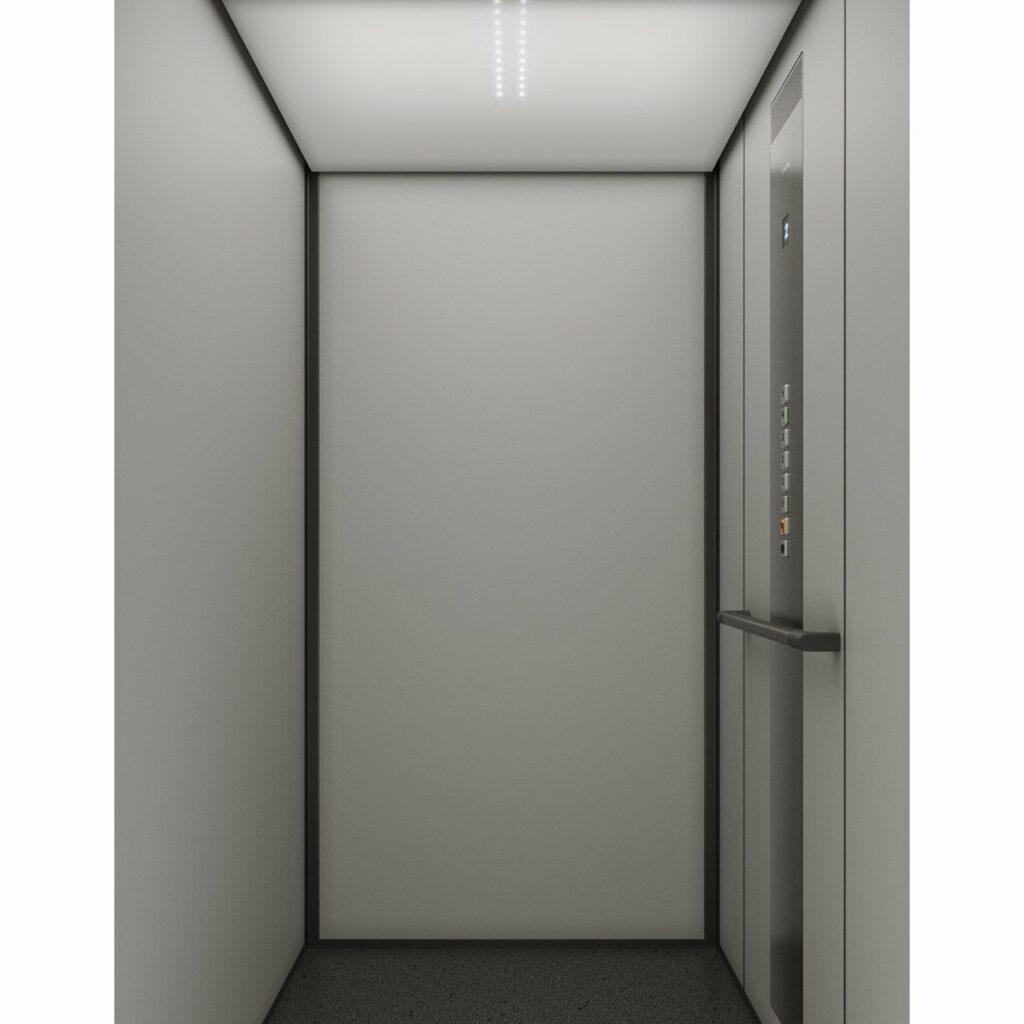 Passenger lift with LED lit ceiling