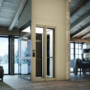 Residential lift under sloping ceiling