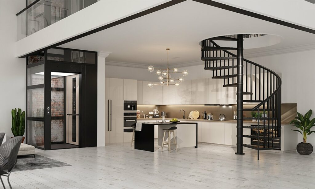 Cabin lift in luxury loft apartment