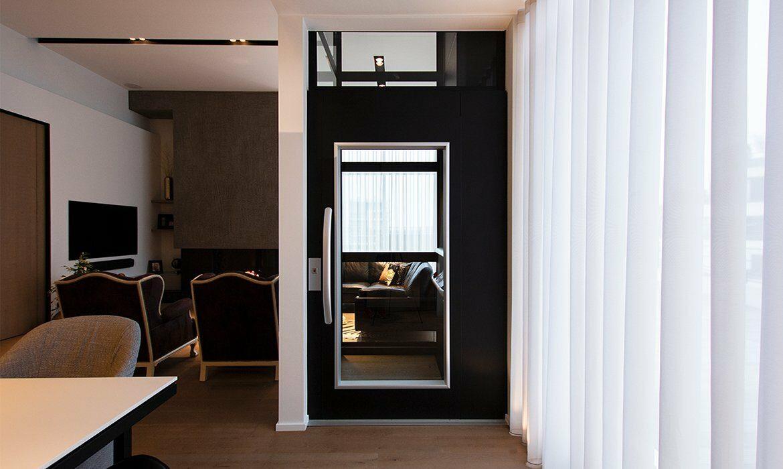 Door at bottom floor in duplex apartment