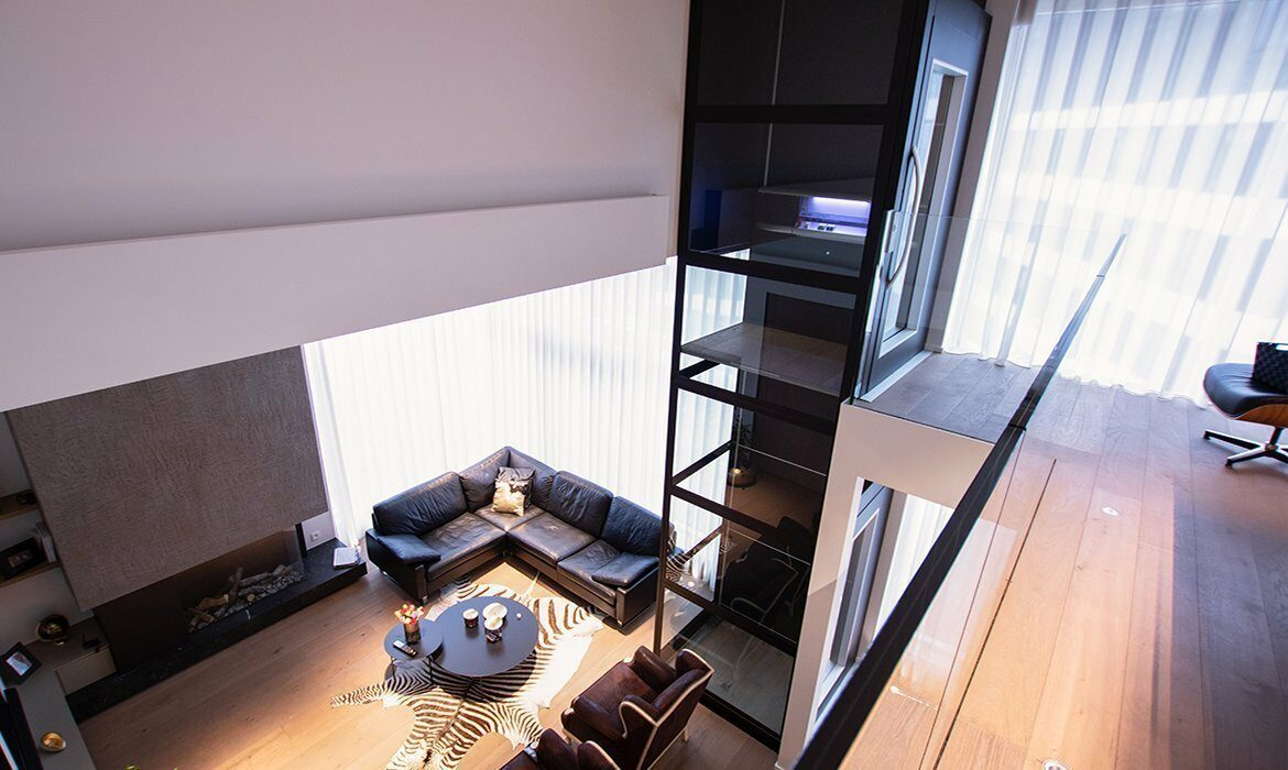 Penthouse lift view from mezzanine